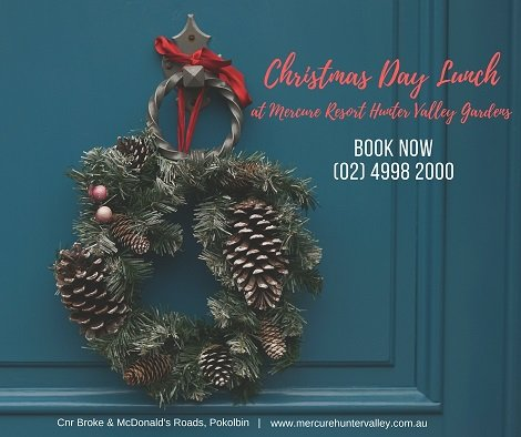 Enjoy Christmas Day lunch at Mercure Resort Hunter Valley Gardens.