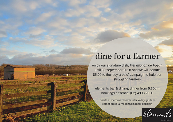 Dine for a Farmer at elements bar & dining.